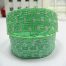 "New design 5/8"" white polka dot fold elastic ribbon"
