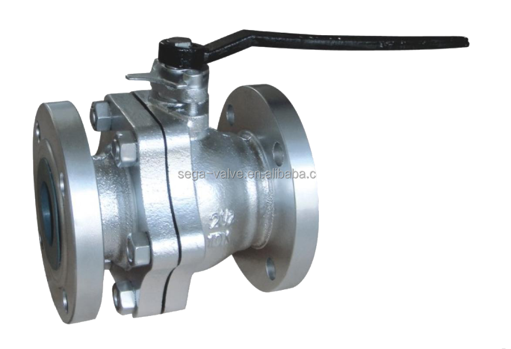 JIS10K/ANSI/DIN cast iron 2PCS flanged ball valve for water