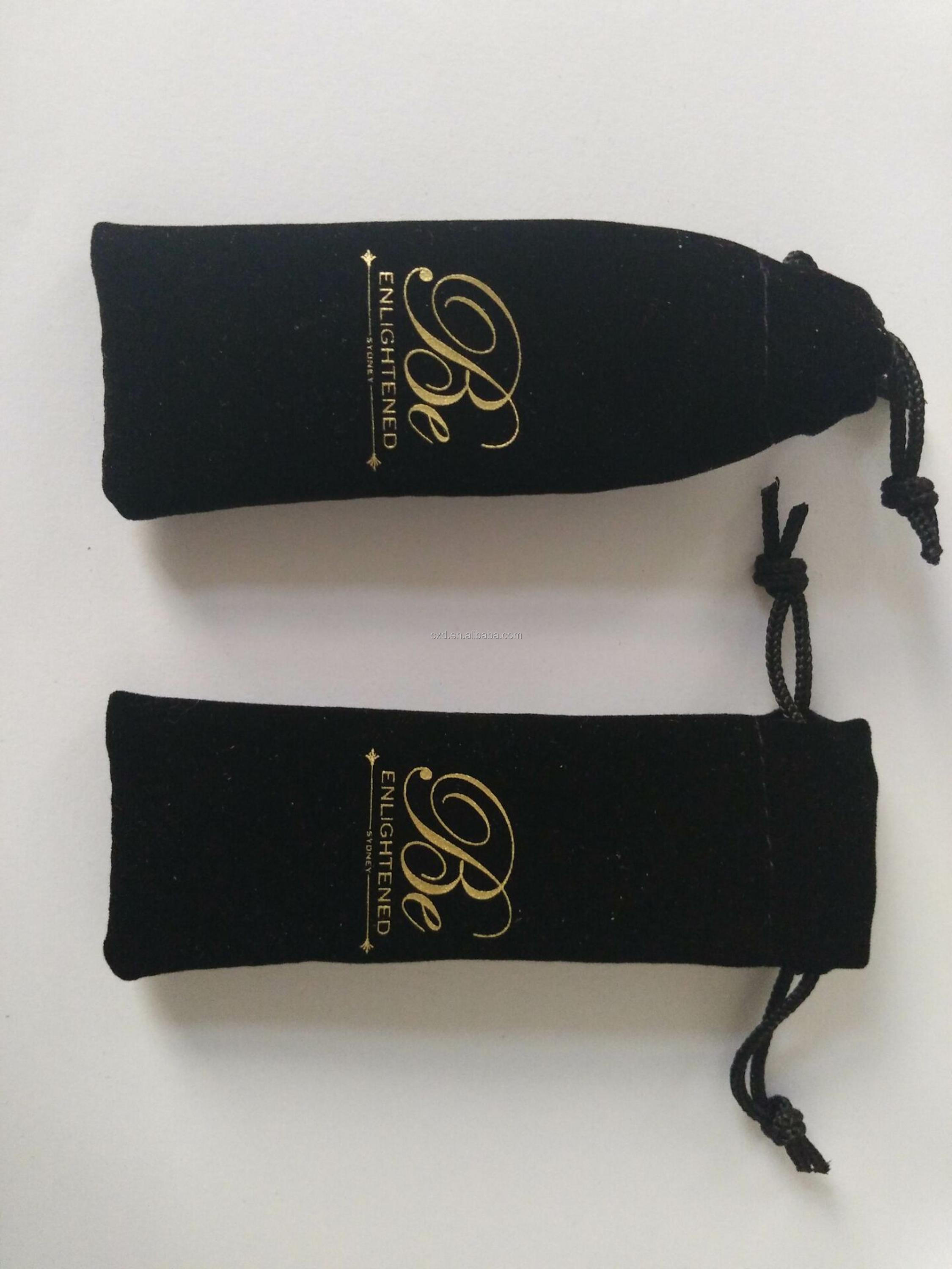 Custom Red Velvet Dust Shoes Bags with Gold Logo
