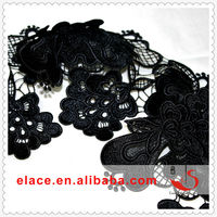 2014 High Quality Fashionable Black Lace 100% Polyester Fabric Lace Tape