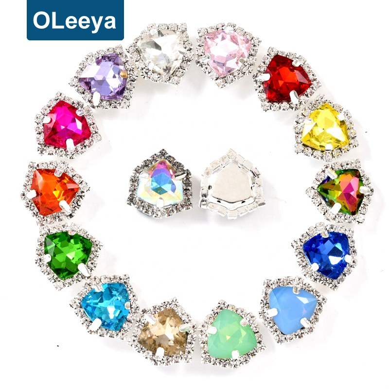 Oleeya Factory Sewing <strong>Crystal</strong> 12mm Fat Triangle Sew On <strong>Crystal</strong> Rhinestones Glass in Rhinestones
