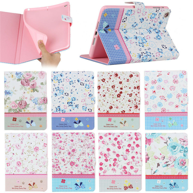 fancy flower design bling leather flip cover for iPad mini 1 2 3 case, for ipad mini 1 2 3 wallet