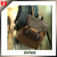 Hot selling Vintage Casual School Leather Rucksack Custom Black Canvas Backpacks