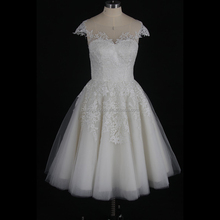 Newest Designs 2017 Wedding Dress Bridal Gown Lace Simple Cap Sleeve Short Wedding Dress