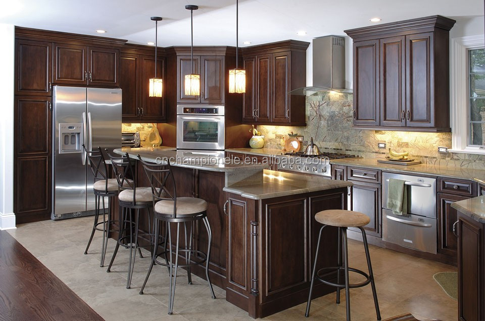 Dark Walnut Wood Kitchen Cabinet  Buy Cherry Wood Kitchen Cabinets