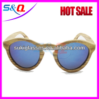 cheap Wooden bamboo customs sunglasses with colorful lenses
