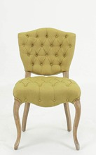 Antique European style button tufted solid dining chair