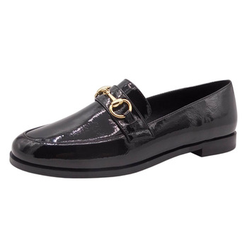 Fashion black patent ladies shoes flat custom loafers women