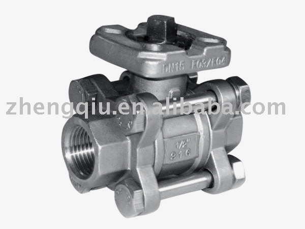 2pc 3PC Full Bore 1000PSI Stainless Steel with pad Ball Valve With ISO5211 Direct Mounting