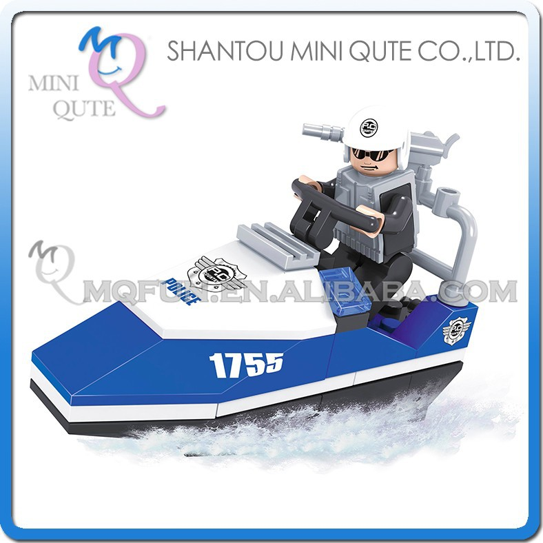 Mini Qute DIY police patrol truck vehicle cruise ship action figures plastic cube building blocks brick educational toy NO.23203