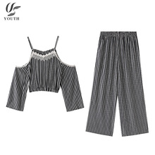 Two Piece Set Women Clothing Lace Embroidered Spaghetti Strap Black Stripe Crop Top Women