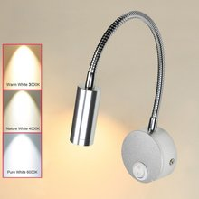 Hotel Home Bed Reading Light 3W Wall Mounted With On/Off Switch Warm White Flexible Snake LED Reading Lamp