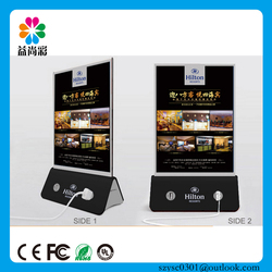 Best for coffee shop hotel menu holder mobile power bank with advertisement