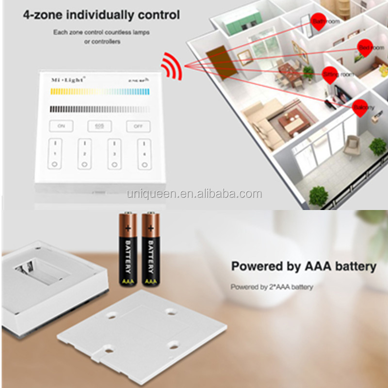 New Milight AAA Battery 4-zone Wireless CCT Adjustable RF Touch Panel Remote Controller for SMD 5050 3528 3014 RGBW Strip Light