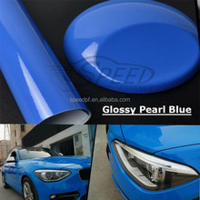 Wholesale premium pvc adhesive car body paint protective pearl blue glossy wrap film