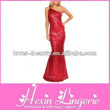 Wholesale Red Shiny One-shoulder Long Cocktail Dress