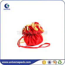 Fashion red satin cosmetic bag with drawstring