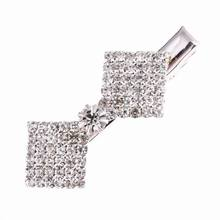 Sparkly Square Crystal Rhinestone Duckbill Clip Hair Jewelry Ornaments For Girls