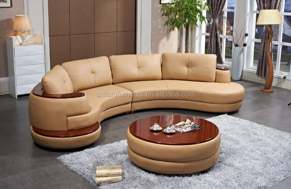 New design furniture round sofa with wood coffee table