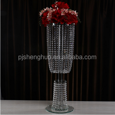 romantic best wedding decoration tall k9 material crystal flower stand with hanging crystal wholesale