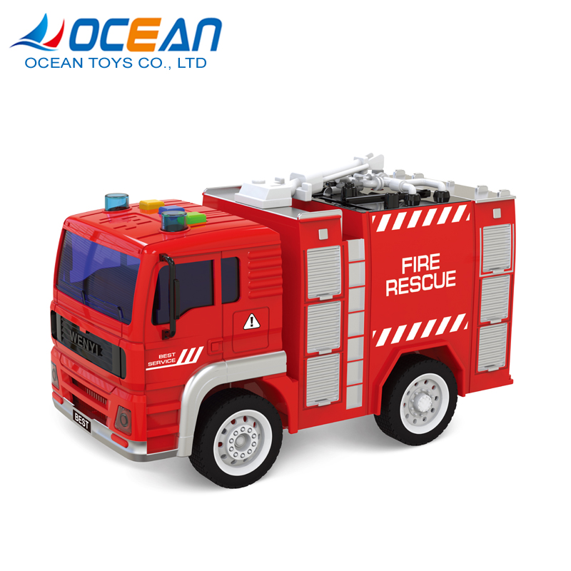 Children educational 1:20 model scale mini friction car toy new fire truck with light