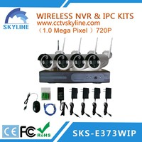 High quality HDMI P2P 4 channels wireless 720p nvr kit with 4pcs WIFI bullet IP Camera with CE/FCC/ROHS