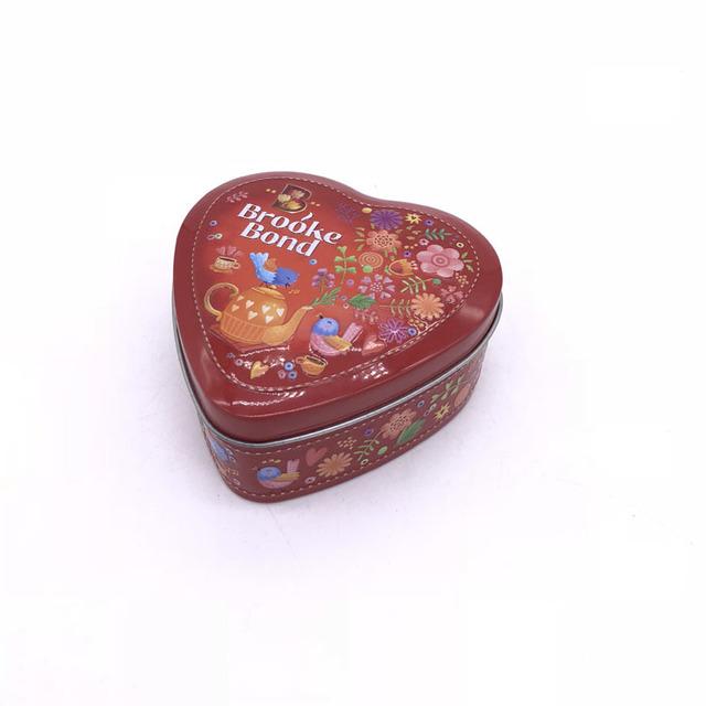 Custom Full Embossed Heart Shaped Tea Packaging Metal Tin Box/Can