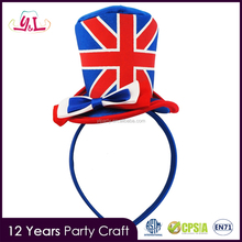 Customized New Design England Headband With Red White Blue Flag Bow