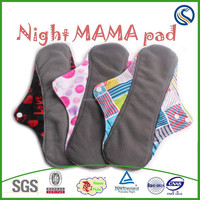 happy flute washable bamboo charcoal Recyclable FLANNEL Top Medium/Heavy Flow ,washable sanitary napkin,Cloth Menstrual Pad