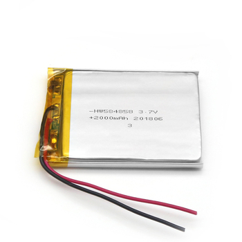 Factory Supplier 3.7V 2000mAh Rechargeable Li-Polymer Battery 584858 Battery