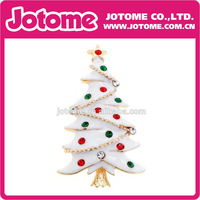 White Enamel Gold Plated Clear & Red & Green Rhinestone Beautiful Elegant Christmas Tee New Hot-selling Charm Pendant