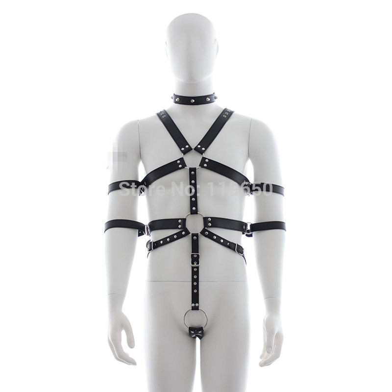 Soft Leather Collar Cockrings Bondage Male Chest Harness Fetish Restraint Belts, Fun sex Games Adult Products Toys For Men-YC152