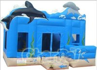inflatable dolphin bouncy jumping castle with slide combo
