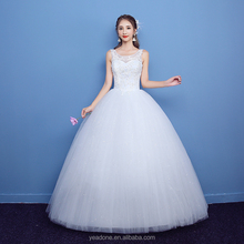 Cheap Sleeveless Lace Wedding Dress Full Hand-made Bridal Gown