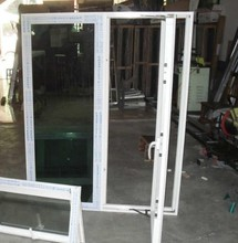 Wooden Color Aluminum Frame french Tempered Safety Glass Casement Window