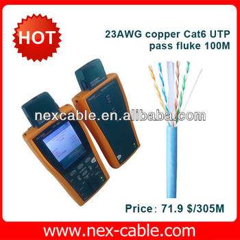 23AWG copper Cat6 UTP pass fluke 100M