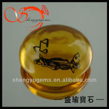 gemstone wholesale yellow oval glass stones model for rings(GLOV-6x8-0037)