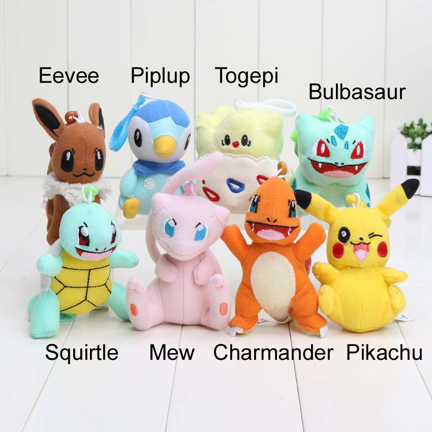8-12cm Poke Bulbasaur Charmander Piplup Squirtle Mini Plush Toys with hook keychain Stuffed Doll