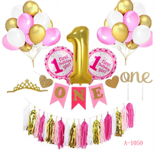Pink and Gold 1st Birthday Girl Decorations Set For Baby's First Birthday Decorations