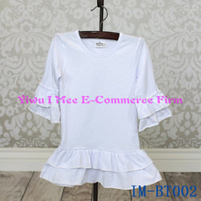 High Quality Baby 100% Cotton White 3/4 Sleeves Blouse Newest Girls Double Ruffles Long Shirts IM-BT002