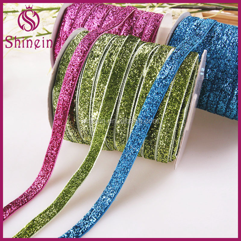 Wholesale custom 10mm colorful single face elastic stretch metallic glitter velvet ribbon for garments