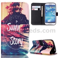 Sunny Story Stand Wallet Leather Cases for Samsung Galaxy S4