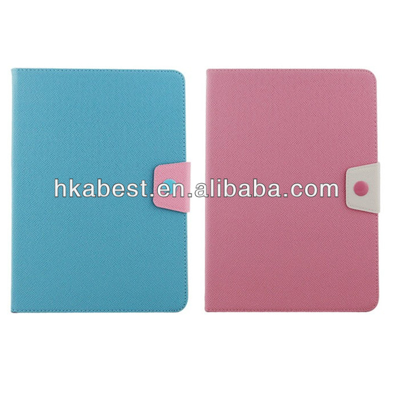Classical Design Contrast Color Leather Wallet Case For iPad Air