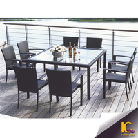 Fancy Outdoor Furniture Dining Table and Chair Aluminum Dining Table Set
