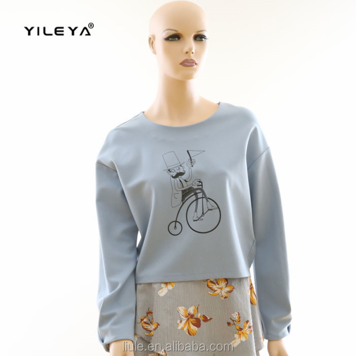lovely pattern printed blue long sleeve spring new design normal blouse