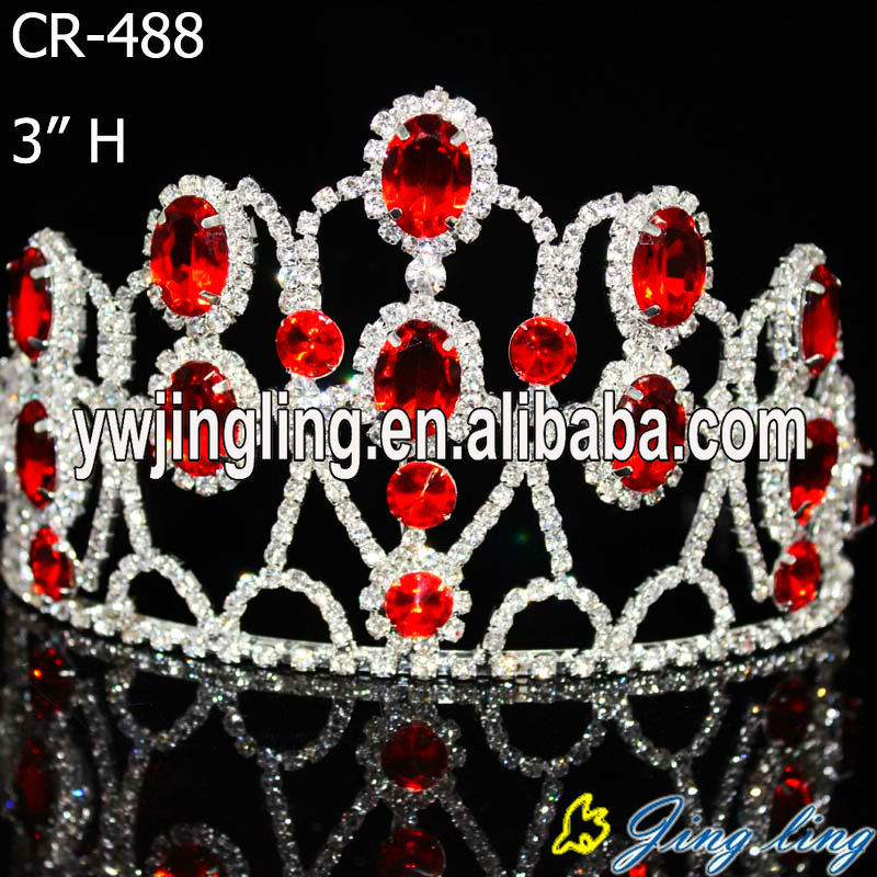 hot sale cheap beauty custom color rhinesone pageant crowns