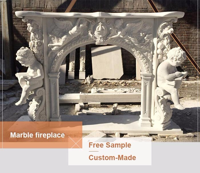 European style hand carving natural stone cherubs fireplace mantel