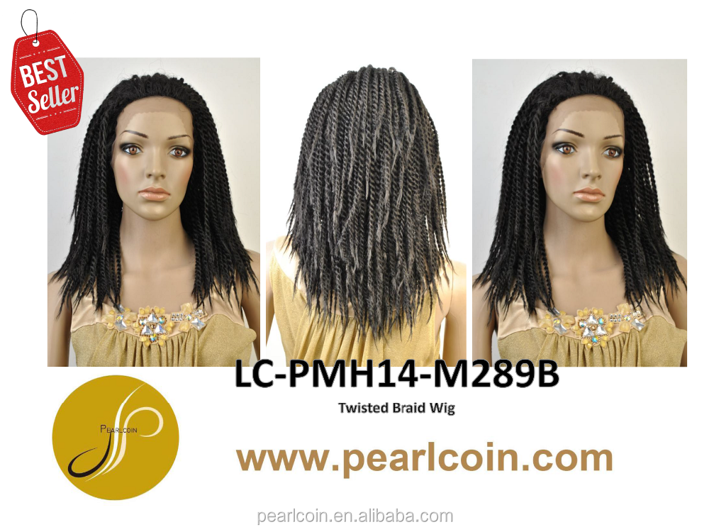 Hot Sale Superior Long 1B 100% Synthetic Fiber Hair Twisted Braid Flame Retardant Lace Wigs