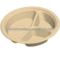 10.25 inch 3 compartment Bamboo Pulp Food Packing Plates
