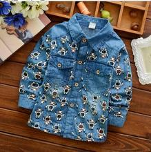 Children T shirt wholesale factory boy's jeans blouse designs cheap denim long sleeves shirt fancy full printed boy shirts